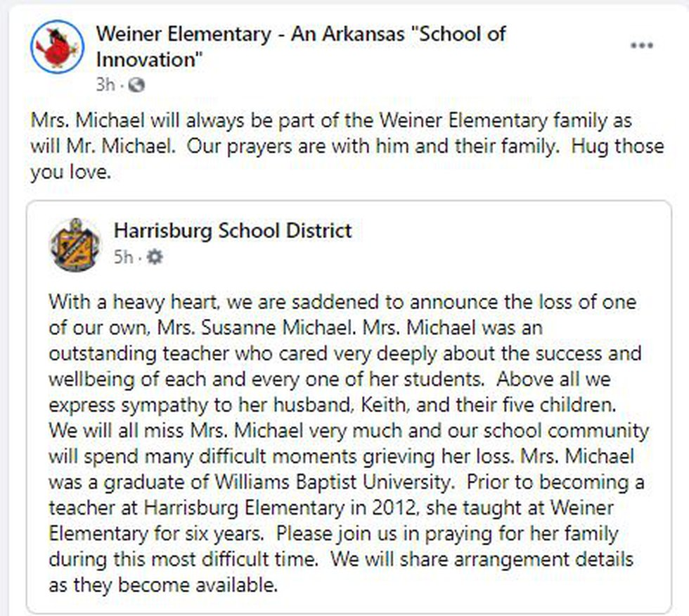 Weiner Elementary, where Susanne Michael taught for six years, remembered the woman who touched...