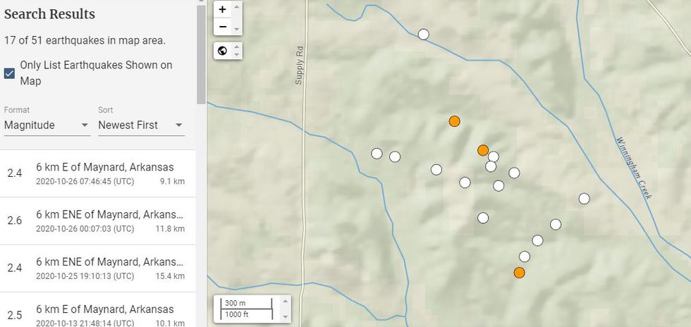 The quakes, according to the U.S. Geological Survey, ranged in magnitude from 2.4 to 2.6.