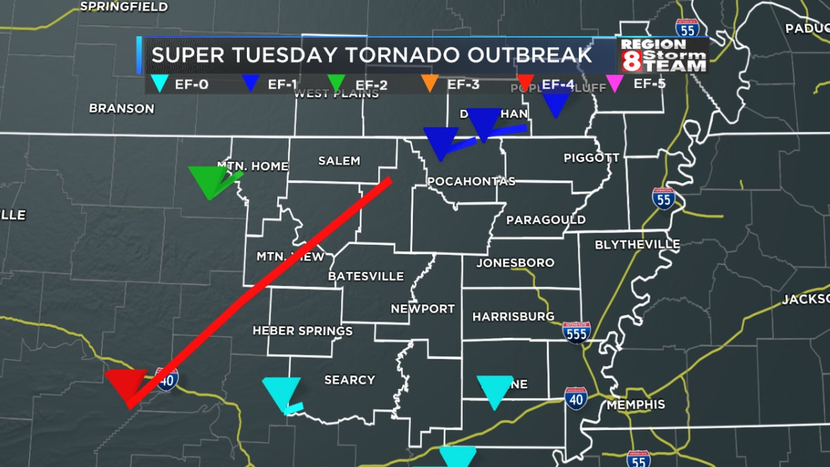 The tornadoes that affected Region 8 during the Super Tuesday outbreak