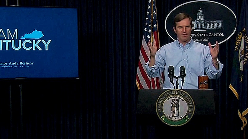 Gov. Andy Beshear in Frankfort during a COVID-19 briefing in 2020.