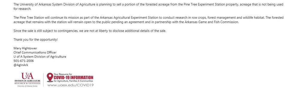 Chief Communications Officer for U of A System Division of Agriculture Mary Hightower responds...