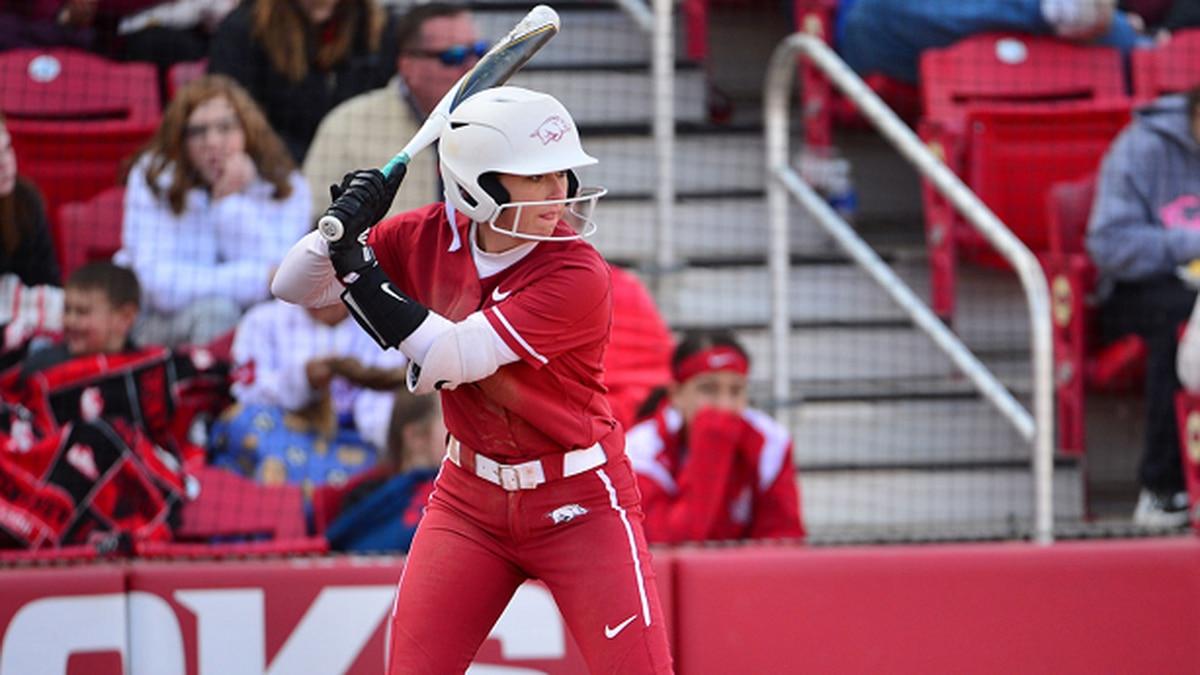 Harrisburg native Keely Huffine at the dish for Arkansas softball