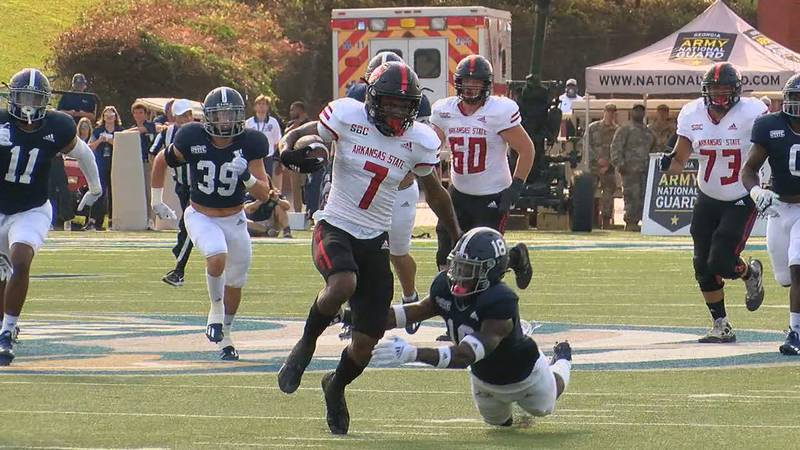 Rucker had over 80 yards receiving and 2 scores as the Red Wolves dropped their fourth straight.