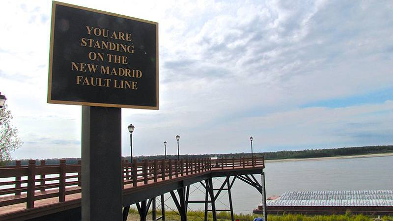 Sign referencing the New Madrid Fault Line in New Madrid, Missouri, United States. The...
