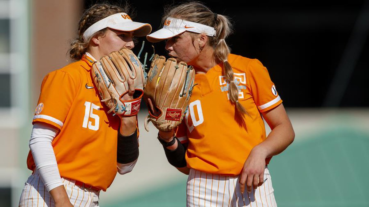 KNOXVILLE, TN - March 24, 2021 - Utility Ivy Davis #15 and Pitcher Callie Turner #20 of the...