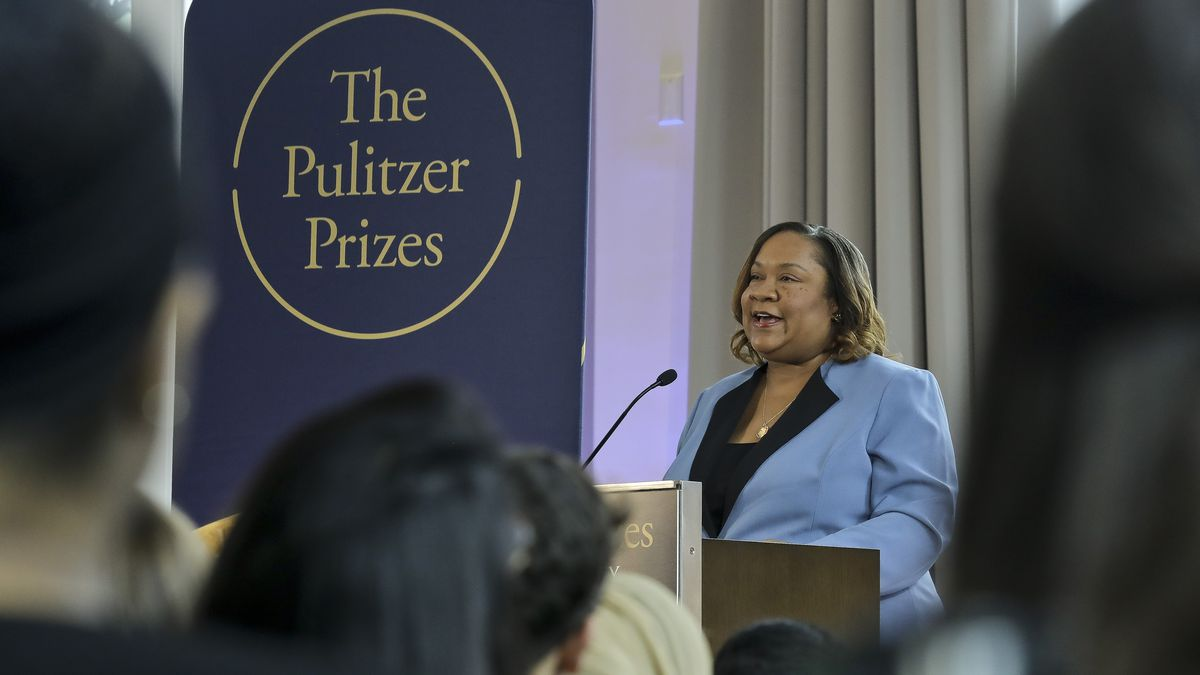 Dana Canedy makes announcement of winners Monday, April 15, 2019, in New York.