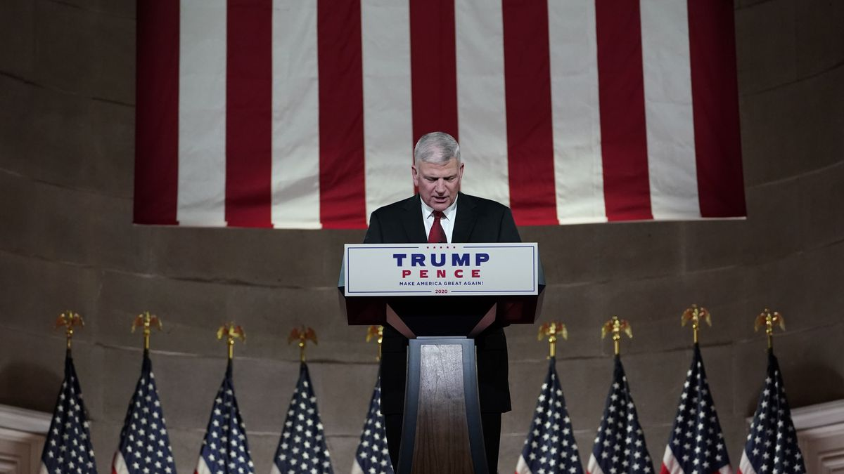 Evangelical leader Franklin Graham tapes his prayer for the fourth day of the Republican...