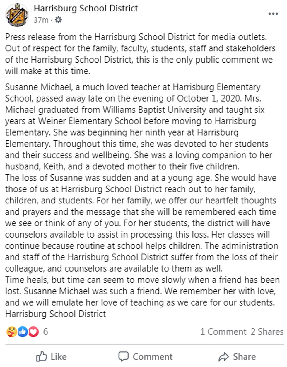 Harrisburg school officials released a statement Friday about the death of teacher of Susanne...