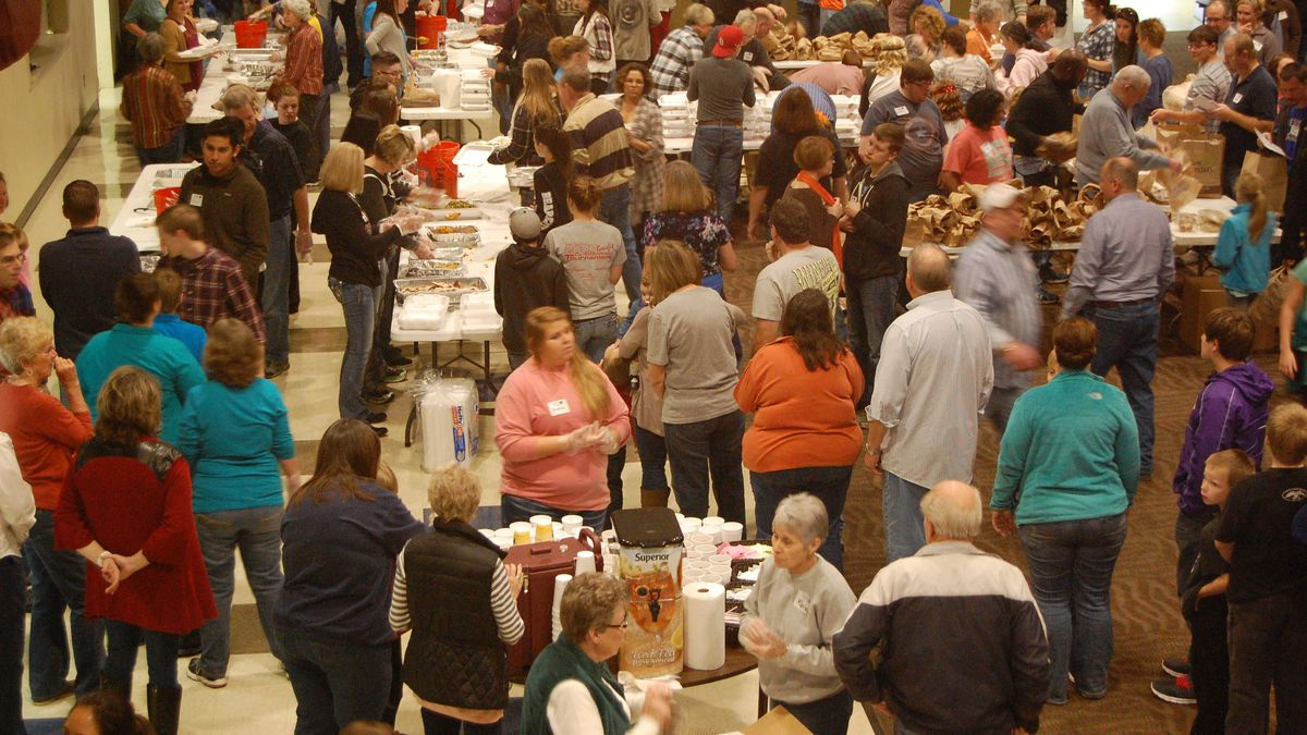 St. Bernards Auditorium fills on Thanksgiving Day to help feed the needs of individuals in...