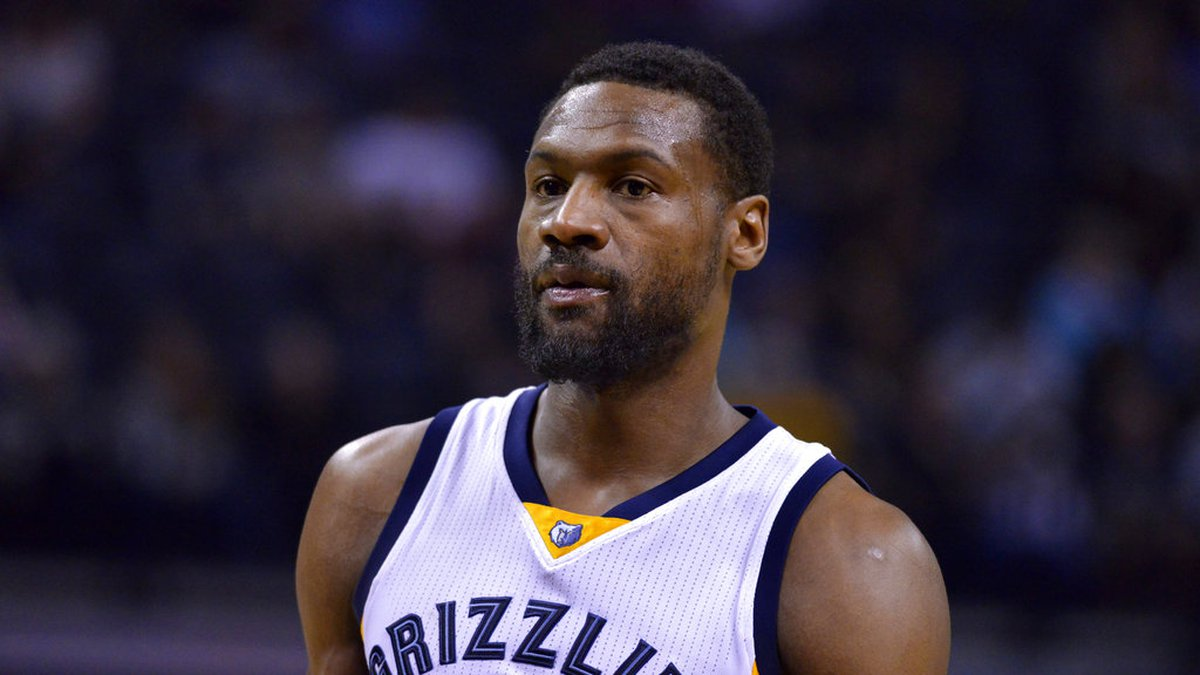 Memphis Grizzlies guard Tony Allen stands on the court during a break in play in the first half...