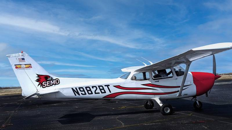 A mock-up of a Southeast themed Cessna 172 that will be used for flight training.
