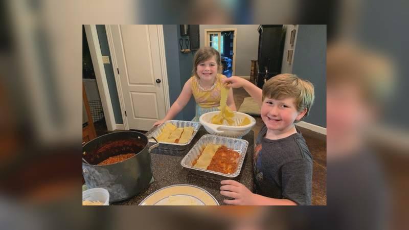 Lorna Macdonald's children help make lasagna