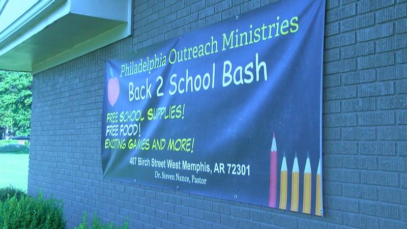 West Memphis church Philadelphia Outreach Ministries advertizes back-to-school-drive.