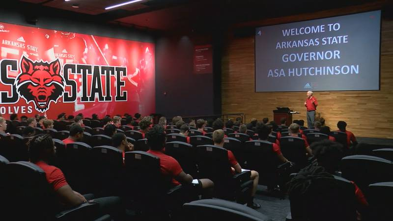 The Ark. Governor was one of many to speak with the A-State football team this summer.