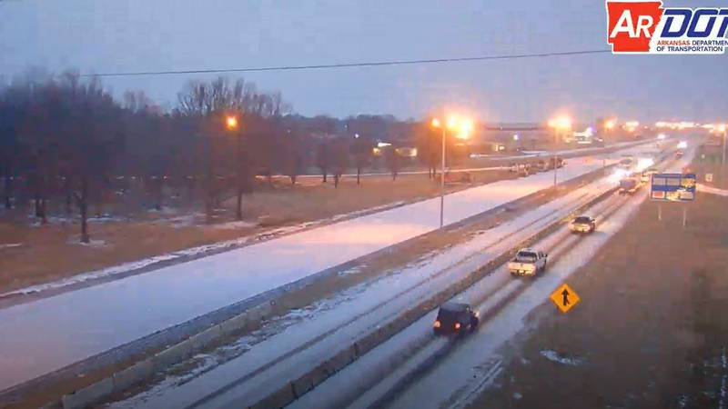ArDOT's camera showed traffic on I-555 in Jonesboro moving at a slow, steady pace.