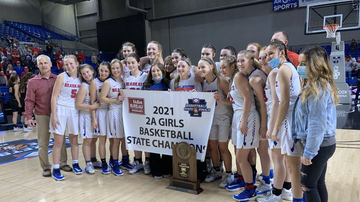 Melbourne girls basketball celebrates after winning 2021 state championship.