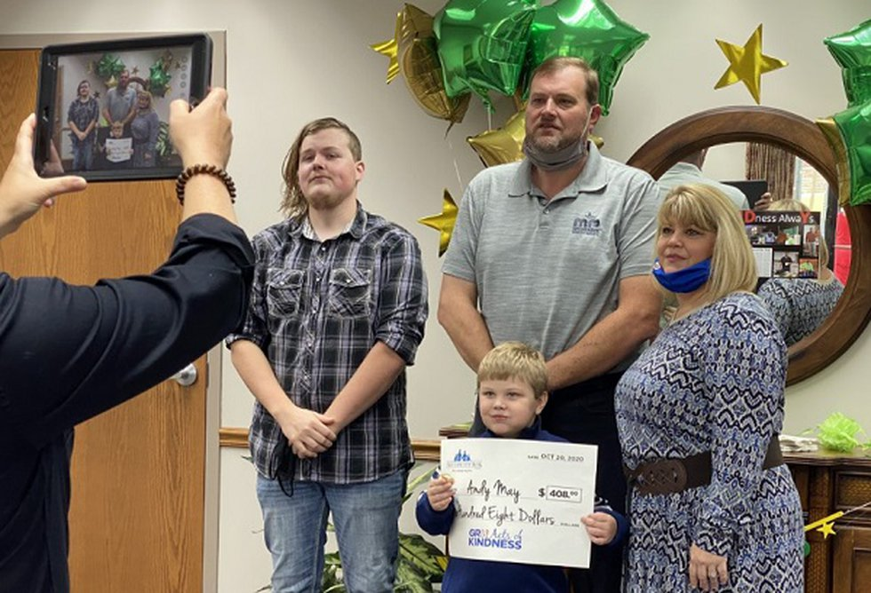 Andy May with his family.  May is the October 2020 recipient of Gr8 Acts of Kindness.