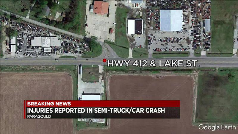 Crews respond to tractor-trailer, car crash in Paragould