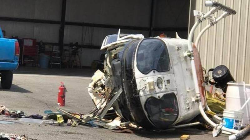 Wreckage of Little Rock police observation helicopter. (source: Little Rock police)