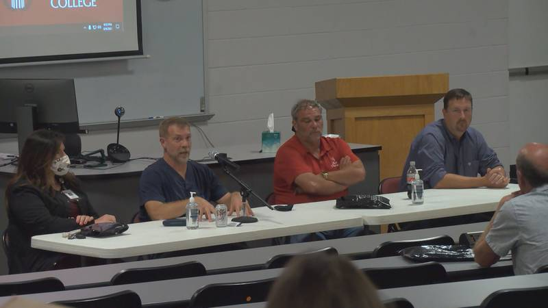 A panel of doctors answered questions Monday night during a COVID Q&A session at Ozarka College...