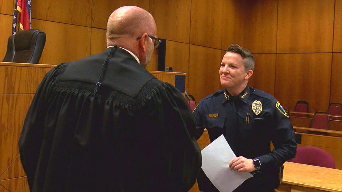 Chief Cassie Brandon being sworn in July of 2018.