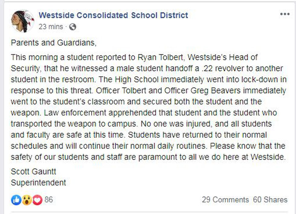 School officials locked down Westside High School Thursday morning after a student gave another...