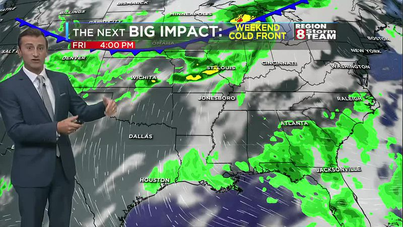 A weekend cold front could bring more showers and thunderstorms to Region 8.