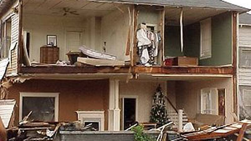 Beebe home heavily damaged by F3 tornado on Jan. 21, 1999.