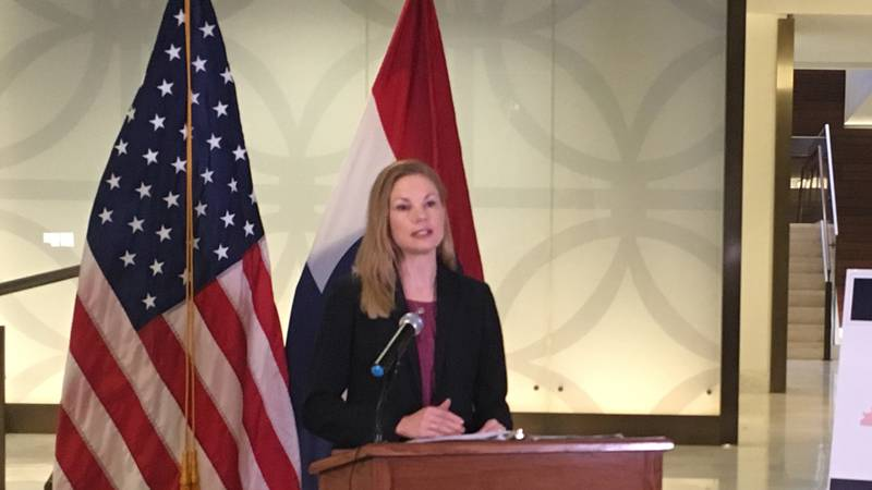 Missouri State Auditor Nicole Galloway speaks at the St .Louis Public Library Monday morning...