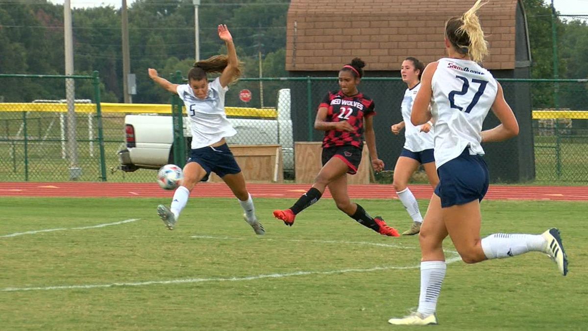 Aliyah Williamson gave the Red Wolves the lead, they would go on to beat South Alabama 3-2.