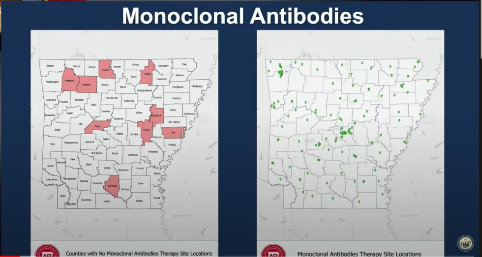 Sites around Arkansas with and without monoclonal antibody therapy sites.