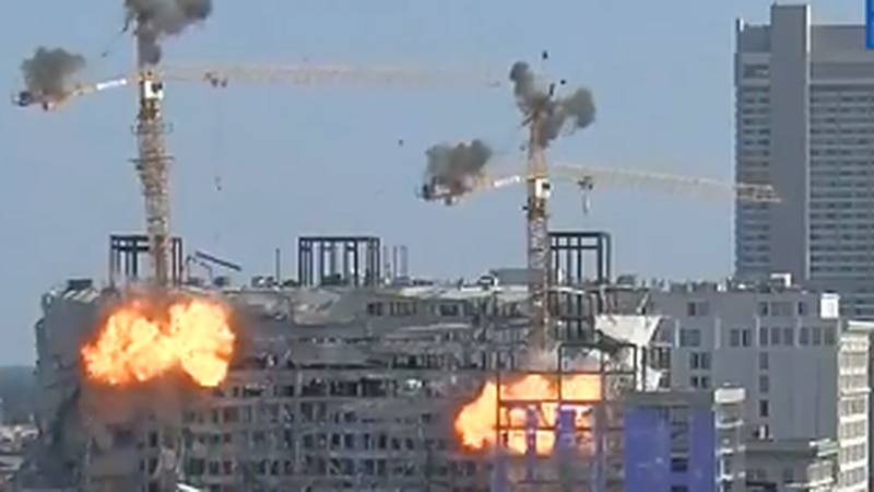 The Hard Rock Hotel cranes were demolished in a controlled explosion on Sunday (Oct. 20).