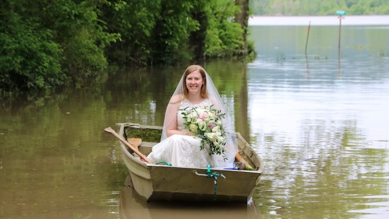 Carmen had to take a boat to get to her wedding. (Source - Carmen Hadler)