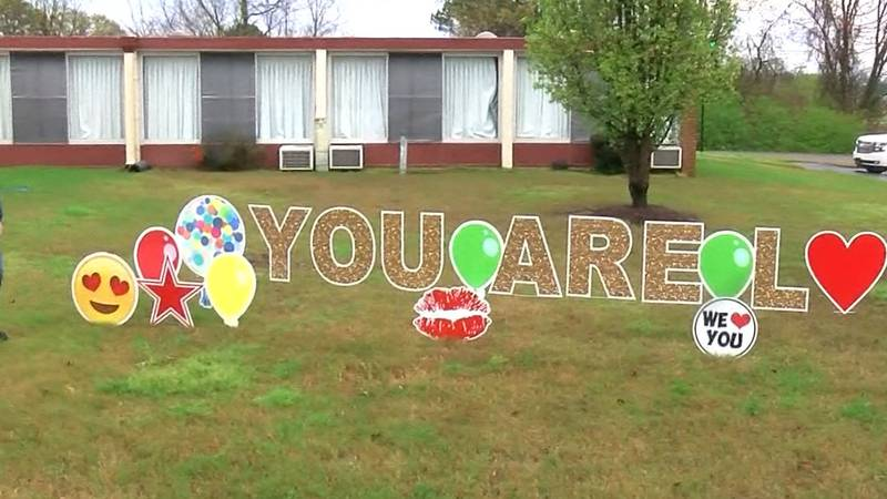 'You are loved' sign outside a Mid-South nursing home