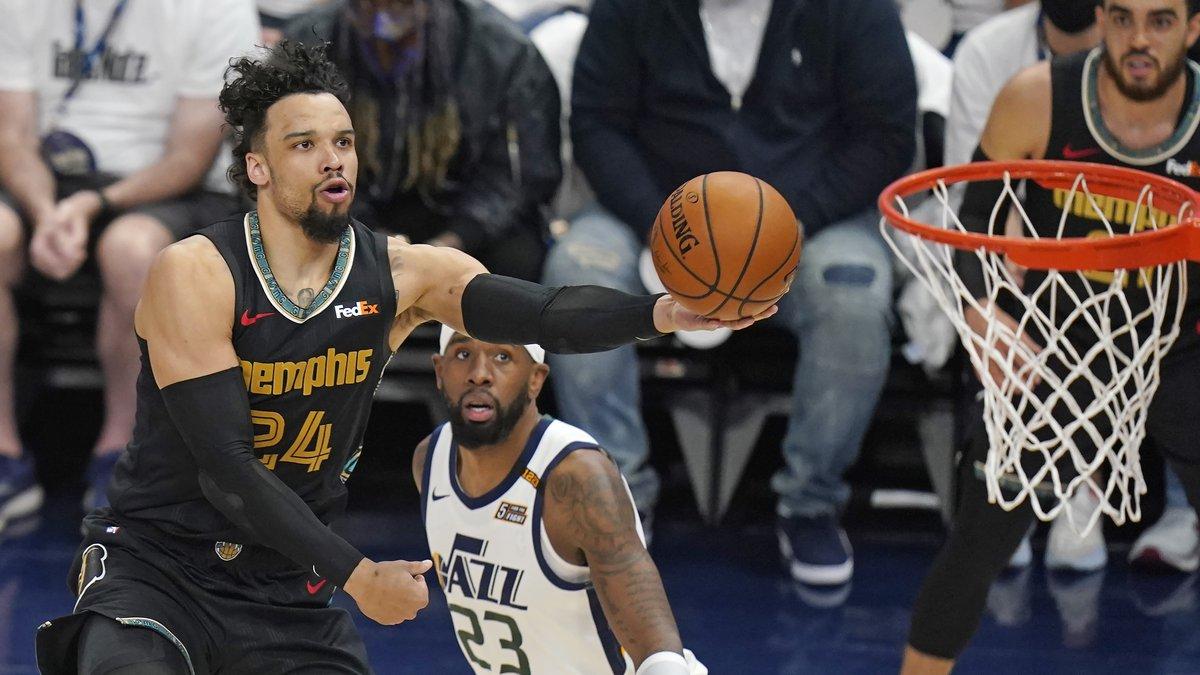 Memphis Grizzlies forward Dillon Brooks (24) lays the ball up as Utah Jazz forward Royce...
