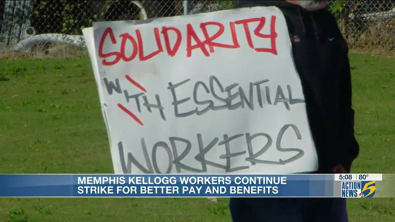 Memphis Kellogg workers continue strike for better pay and benefits