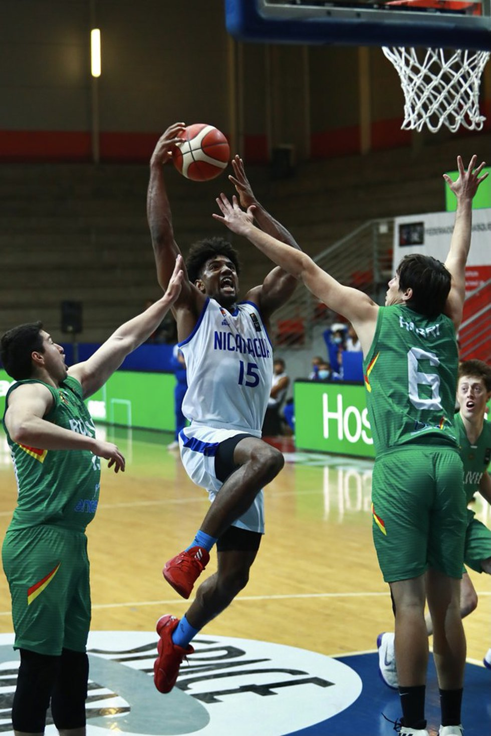 Arkansas State forward Norchad Omier rises to the rim Wednesday in FIBA World Cup Americas...