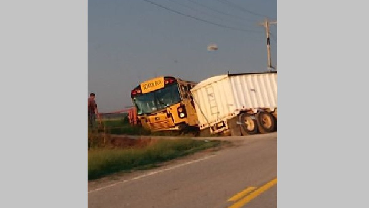 A bus driver was taken to the hospital following an early morning collision.