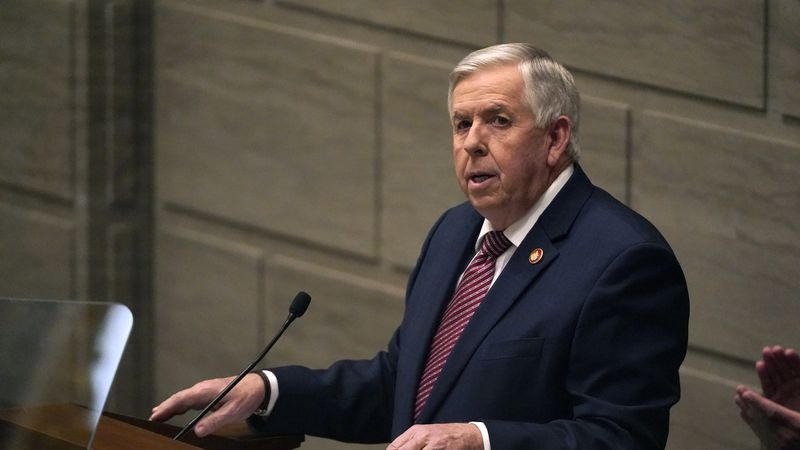 FILE - In this Jan. 27, 2021 file photo, Missouri Gov. Mike Parson delivers the State of the...