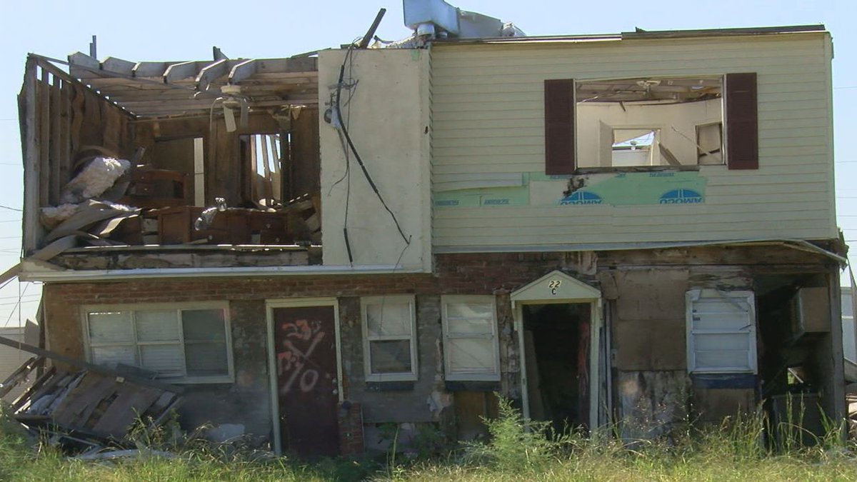 The property at 2221 Needham, units A, B, C and D, left untouched since the tornado hit.