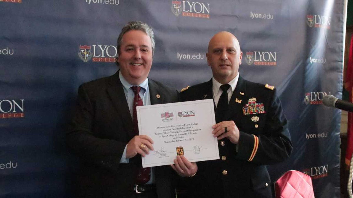 Lyon College President Joey King and Lieutenant Colonel Brian Mason of the ASU Department of...