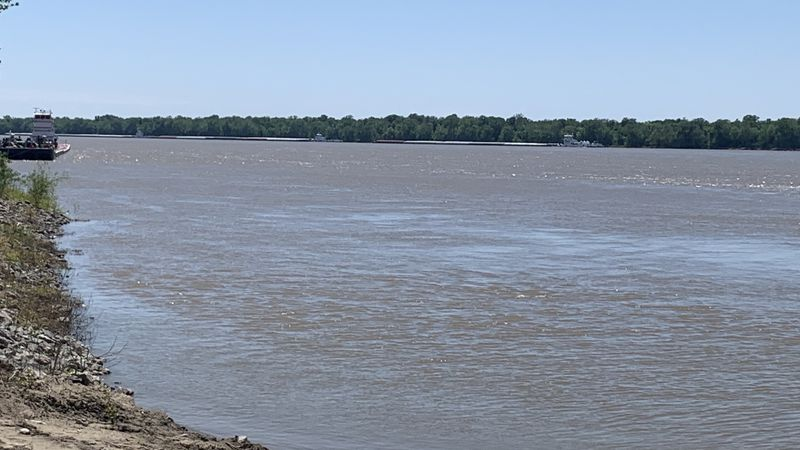 Barges are stopped in the Mississippi River after the I-40 bridge between Tennessee and...