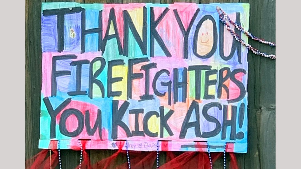 A firefighter appreciation sign left at the Caldor Fire.