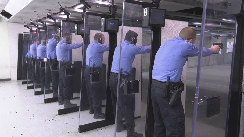 Members of the 109th recruit class in firearms training