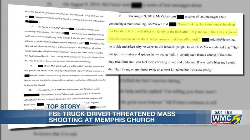 The affidavit details McVickers' plans to attempt a mass shooting and suicide in Memphis.
