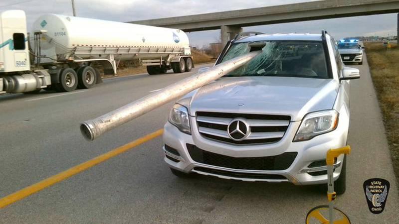 Pole through windshield