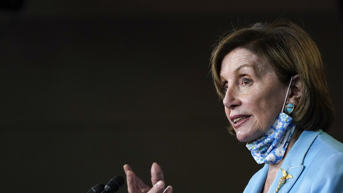 House Speaker Nancy Pelosi of Calif., talks to reporters on Capitol Hill in Washington,...