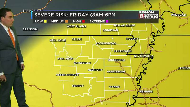 There is a possibility of strong to severe storms Friday afternoon and evening.