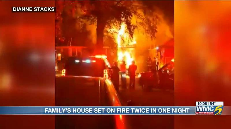 Family's house set on fire twice in one night