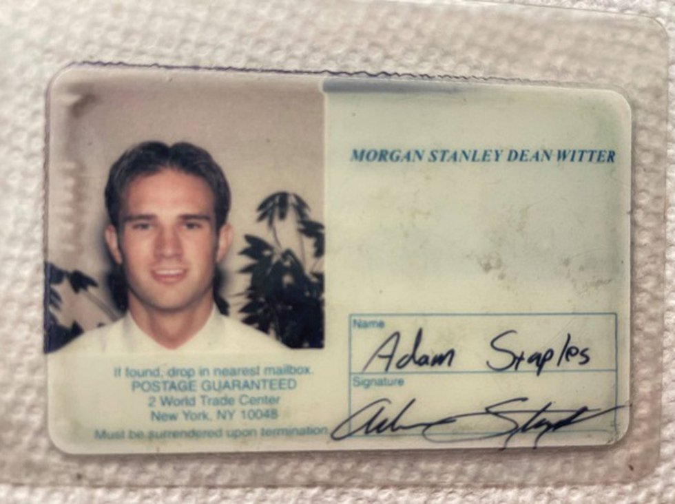 This is the badge he used to access the World Trade Center during his training there for Morgan...